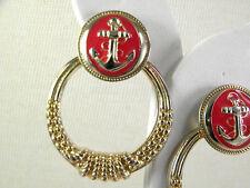 Red Enamel Anchor and Hoop Nautical Earrings Vintage Jewelry