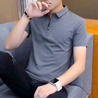 Men's Slim Fit Casual T-shirt Turn Down Neck Short Sleeved Tee Tops Dress Shirts