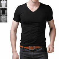Men's V Neck Tops Tee Shirt Slim Fit Short Sleeve Solid Color Casual T-Shirt