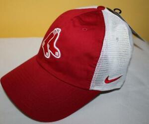 NWT Boston Red Sox Swoosh Hat Cap Mesh Strap Back Trucker Heritage 86 DriFit *H9