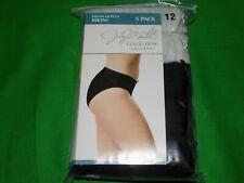 Jaclyn Smith 5-Pk Women's Premium Plus Bikini Gray/Black Sz 12 New 95% Cott