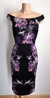 Elegant Black Floral Bird Bardot Off Shoulder Pencil Party Dress Size 12 - 20