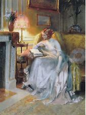 """*Postcard-""""Lady in Long Dress...Reading/Relaxing On Sofa"""" (B527)"""