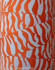 "5 Yards 1.5"" GO TEAM SPORTS ORANGE WHITE TIGER ZEBRA CHEER  GROSGRAIN RIBBON"