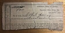 CONFEDERATE STATES of AMERICA DEPOSITORY OFFICE SELMA DATED 1864 for $900 at 4%