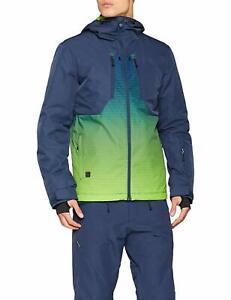 Quiksilver Men's Mission Plus Engineered Jacket Snow Blue / Lime Green XXL