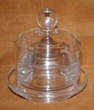 2 PIECE INDIVIDUAL CRYSTAL DOME BUTTER DISH CLOCHE  EXCELLENT COND NO DAMAGE