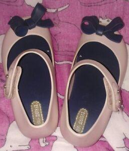 Mini Melissa Pink& Blue Peep Toe Bow  Flats Shoes Sz 9  Cute