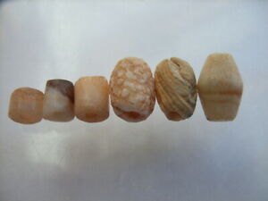 6 Ancient Neolithic Agate Beads,, Stone Age,  VERY RARE !!  TOP !!