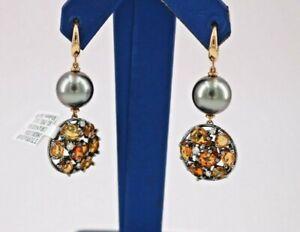 Utopia 18K Rose Gold Diamond, Tahitian Pearl, & Orange Sapphires Earrings