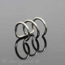 SILVER SURGICAL STEEL TRIPLE RING EAR CUFF CLIP ON CARTILAGE WRAP EARRING