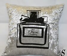 "Silver Crushed Velvet, ""MISS"" Perfume bottle Glitter Cushion Cover. Free P&P."