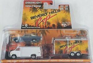 1:64 GreenLight Beverly Hills Cop Hollywood Hitch/Tow 8 GMC Vandura Chevy Nova