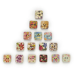 50pcs 2 Hole Mixed Square Wood Buttons Decor Sewing Scrapbooking Clothing 13mm