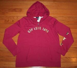 NEW NWT Womens GAP LOVE 1969 Logo Front Zipper Hooded Sweatshirt Hoodie Berry