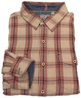 True Grit Shirt Medium Mens Long Sleeve Button Down Plaid Pink Tan Men Size Sz M