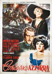 manifesto 2F film LA CONTESSA AZZURRA Amedeo Nazzari Zsa Zsa Gabor 1960 Simeoni
