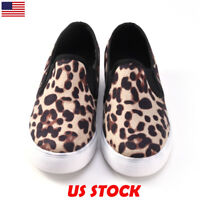 Women Ladies Leopard Printed Slip-on Flat Sneaker Pumps Shoes Loafers Shoes Size