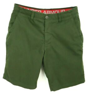 Under Armour Shorts Mens 35 Green Pockets Flat Front Chino Regular Fit EVERYDAY