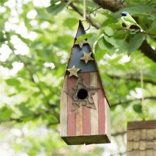 "Glitzhome 12.4"" Wooden Patriotic Stars & Stripes Garden Hanging Bird House Cage"