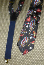 Men's Necktie Suspender Combo Set Golf Theme Oleg Cassini NWT Polyester Navy