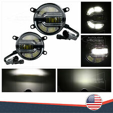"2PC 3.5"" USA 2IN1 DUAL FOG/HIGH/DRL BEAMS WHITE LED LIGHT HOUSINGS DIY FOR MAZDA"