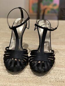 Calvin Klein High Heal Sandle Black Satin Silk Size 38