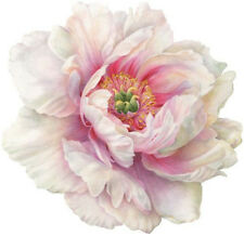 Round Placemats Vinyl Coated Hard Table Mats for Round Tables Peony White Set 4