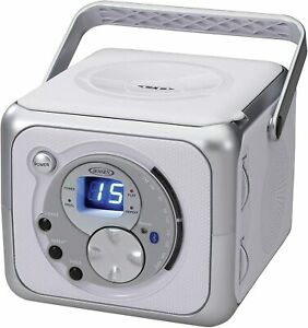 CD 555 White Silver CD Bluetooth Boombox Portable Bluetooth Music System with CD