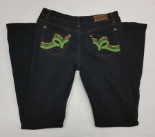 Women's ROCA WEAR Black Flair Low Waist Embroidered Green&YellowJeans Size 7