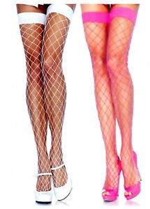 Thigh High Fence Net Fishnet Stockings Reg White or Neon Pink Leg Avenue 9014