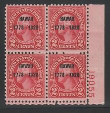 647 VF never hinged plateblock with nice color cv $ 225 ! see pic !