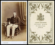ca 1870s CDV PHOTO PORTRAIT OF A MAN WITH TOP HAT & DUBLIN, IRELAND STUDIO