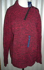 Chaps Womens Thick Heavy Red Black Winter Sweater 1X