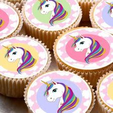 24 Edible cupcake fairy cake toppers decorations ND4 Unicorn colourful