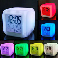 Night Light LED Digital Alarm Clock  Changing Thermometer Date Time  7 Colour