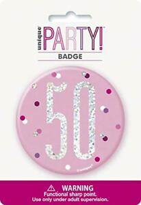 3Inch Glitz Pink And Silver 50th Birthday Badge NEW