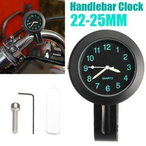 "New 7/8"" Motorcycle Bike Handlebar Mount Watch Clock 22mm-25mm Waterproof"