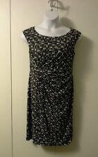 Dressbarn Black & White Dot Knee length Cap Sleeve Dress 14 Polyester Versitle