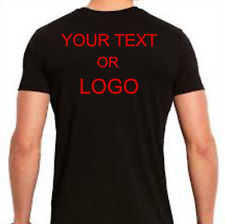 NEW BLACK CUSTOM T-SHIRT ANY TEXT & LOGO BACK/FRONT RED LETTERING BLACK T-SHIRT
