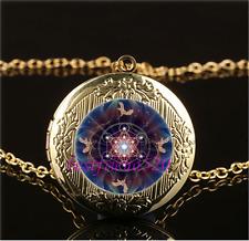 Metatron Cube Photo Cabochon Glass Gold Plating Locket Pendant Necklace