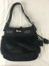 Black Faux Fur purse handbag w/ leather straps & blue gold beads native