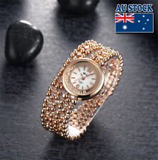 Fashion Woman Girl Double Layers Rose Gold Ball Inlay Crystal  Wrist Watches