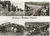Ansichtskarte Passau - Veste Oberhaus und Niederhaus, Innkai u.a. - schwarz/weiß