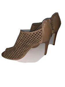 MARC FISHER Camel Brown Suede Platform Cage Pump Stiletto Heel Shoe Size 7-1/2 M