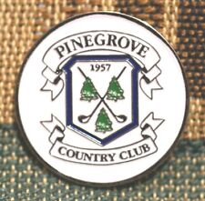 """RARE_Limited Edition PINEGROVE Country Club 1957 1"""" Gold Plated Golf Ball Marker"""