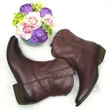 LUCKY BRAND Womens Brown Leather Ankle Peace Sign Booties Boot Size 9M/39