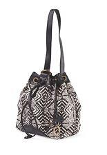 Lucky Brand BALI HAI Sling Bag Woven Geometric Print Faux Leather Trim~BLACK~NWT