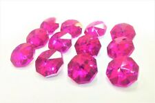 25 Metallic Fuchsia Hot Pink Octagon Chandelier Crystal Beads Octagons