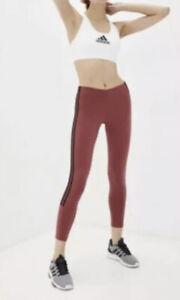 Adidas Women's 7/8 3-Stripe Tights - Legacy Red/Black Sz L